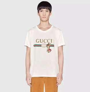 Gucci兔子刺繡男女同款T恤
