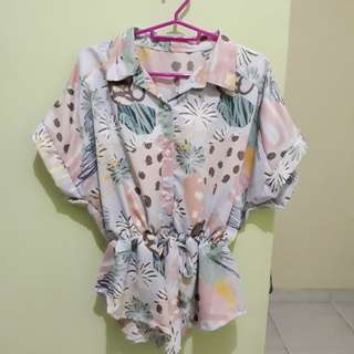 Abstract Drawstring Shirt [Never Been Used]