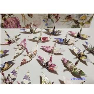 "#FC15-84h. Lot of 100pcs 1.5"" Floral Design Hand-folded Origami Paper Cranes. (JD Paper Series)"