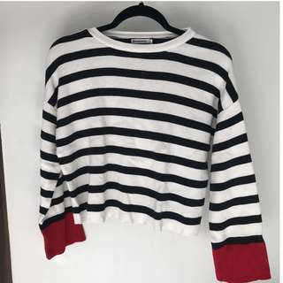 BRAND NEW: Stradivarius Blue Striped Sweater with red details
