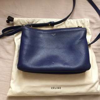 Celine Trio Navy Blue Bag Chanel gucci balenciaga givenchy Saint Laurent Valentino