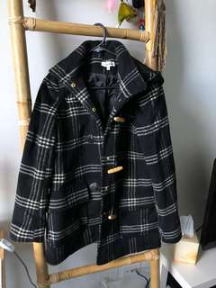 Black White Check Winter Coat Toggles Size 6. XS.