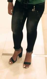 Emerald Blocked Heels Size 8 Zara