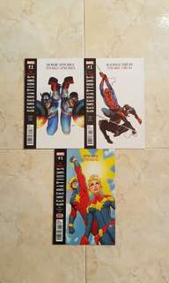 Generations (Marvel Comics 3 one-shot issues; Sam Wilson Captain America & Steve Rogers Captain America, Miles Morales Spider-Man & Peter Parker Spider-Man and Captain Marvel & Captain Mar-Vell)