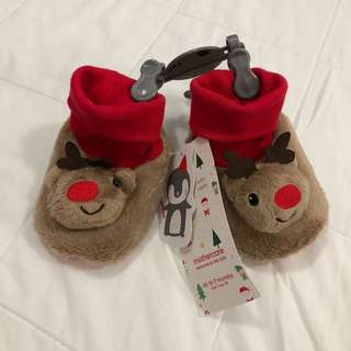 Mothercare unisex reindeer shoes with rattle