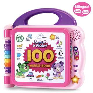 (In-Stock) LeapFrog Scout and Violet 100 Words Book - Bilingual; Exclusive Color - Pink/Purple (Brand New)
