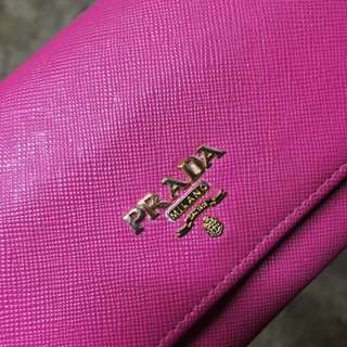 Prada Saffiano Peonia-Begonia Long Wallet