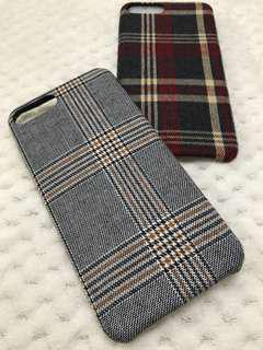 (包郵) iPhone plus 6 7 8 格仔絨面電話殼 Phone Case
