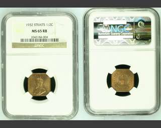 S/S King George V 1932 Half Cent. NGC MS65 RD