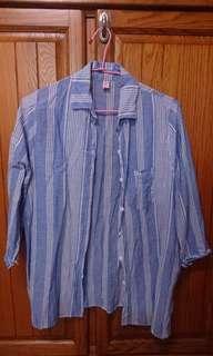 🚚 藍白條紋七分袖襯衫