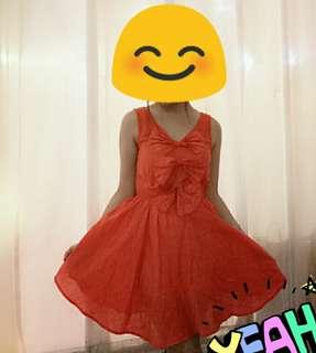 Dress orange lucu