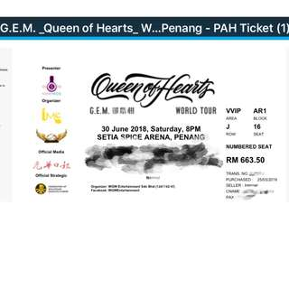 G.E.M. 邓紫棋 Queen of Hearts Penang Saturday 6.30 Spice Arena