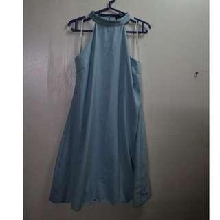 Zalora Powder Blue Halter Scallop Dress
