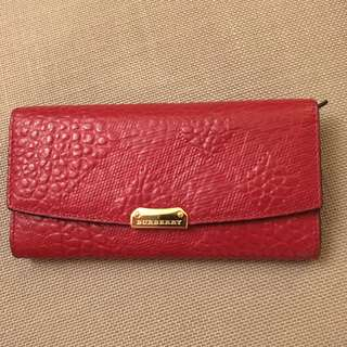 Burberry Porter Embossed Leather Wallet (Red)
