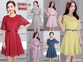 LATEST DRESS LACE WITH BELT 17114 RC
