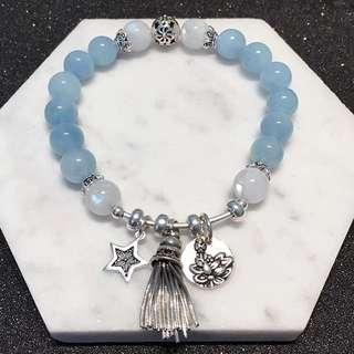 S925銀手工銀拉絲銀海藍寶+月光石手鏈