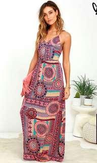 Coral Pink Print Maxi Dress