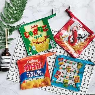卡樂b薯片蝦條 可愛食品圖案透明pvc防水收納包防水袋