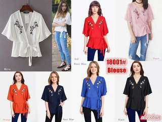OVERLAP EMBROIDERED BLOUSE 18001 RC