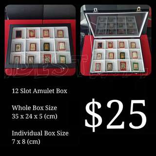 WHITE 12 Slot Amulet Display Box With Glass Cover