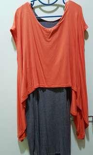 Orange-gray nursing dress
