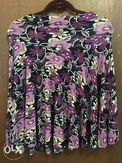 Printed Violet Skirt and Plain Violet Blouse