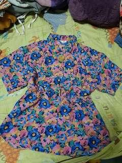 🔴私物🔴復古古著滿版花朵縮腰襯衫