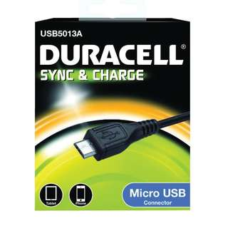 Duracell USB to Micro-USB/Lighting Charge And Sync Cable 1 Meter (USB5013A/USB5012A) - Black