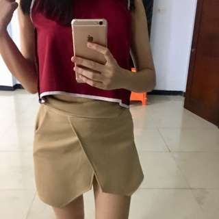 Brown Wrap Skort