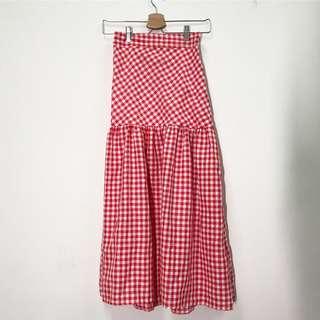 🚚 韓國古著 超長版 可愛 浪漫 紅白色 高腰格紋 長裙