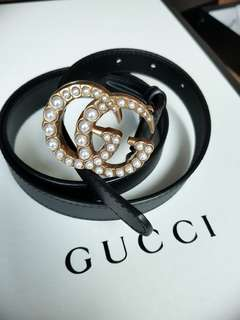 Gucci belt with pearl GG buckle
