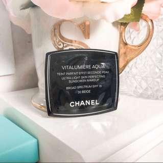 💛 Chanel Vitalumiere Aqua Ultra Light Skin Perfecting Sunscreen Makeup • Broad Sprctrum SPF 15 • 30 Beige  0.9ml