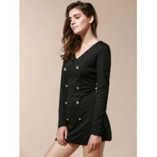 V-Neck Solid Color Double-Breasted Long Sleeve Jacket TG
