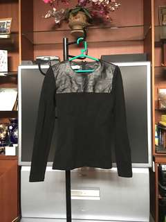 WHAT'S HOT Black Leather Mixed Wool Sleeve Top