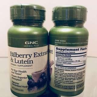 💥雙效改善眼倦💥眼乾💥GNC 山桑子精華(藍莓)+葉黃素 (60粒) Bilberry Extract & Lutien