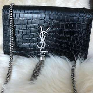 YSL Medium Kate Tassel Black Croc Embossed with SHW