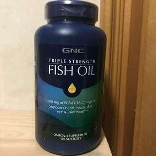💥暢淨血管💥截擊3高💥強健關節💥 活化腦部思考和專注力 💥GNC 三倍超級魚油 (120粒) Triple Strength Fish Oil  (4個月份量)