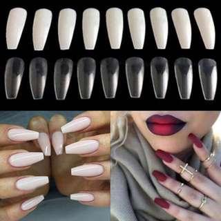 🚚 2 sets Fake Nails French/Coffin/Oval/Ballerina/Round/Stilleto/ 10s