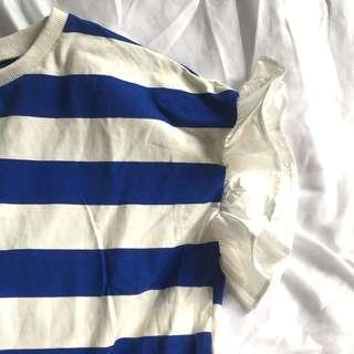韓國 夏日藍白條紋荷葉裙擺洋裝
