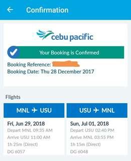 Roundtrip Airfare (Manila-Coron-Manila) June 29-July 1