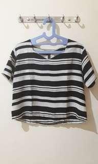 Striped Blus/Crop Tee