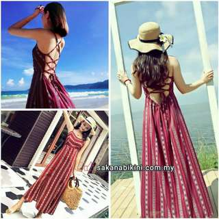 Maroon Long Beach dress