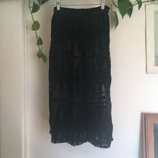 Black velvet cut out skirt