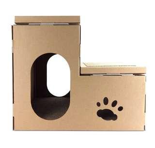 🚚 限量買一送一!貓咪也瘋狂!貓屋式雙層貓抓板瓦楞紙