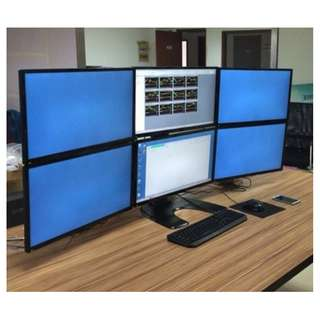"6多屏显示器支架 | 6 LCD Arm Monitor Stand, | can Mount up to 6 monitors (22"")."