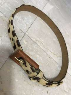 Leopard print horse hair belt