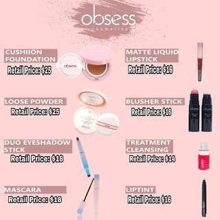 (INSTOCK AVAIL) Authentic DD Cushion Foundation, Loose Powder, Blush Me stick, Lip Matte, Mascara, Treatment Cleansing & Lip Tint Cushion By Obsess Cosmetics PO