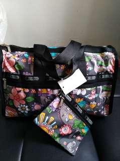 Lesportsac福鼠花中型旅行袋