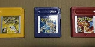 Gameboy Nintendo Game boy Pokemon Cartridge Blue, yellow, red