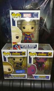 (ON HAND) Captain Marvel, Captain America & Vision Marvel Funko Pop Bundle